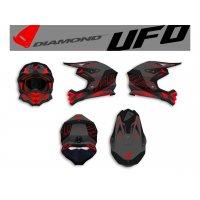 Casco UFO DIAMOND Negro Mate/Rojo