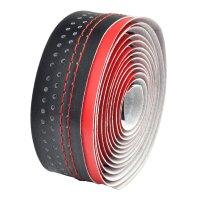 Cinta de manillar VELO microfibra agujereada roja/negra