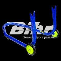 Caballete trasero Bihr con soportes en V para diábolos. Color azul y ruedas amarillas